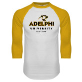 White/Gold Raglan Baseball T Shirt-Panther Head Adelphi University New York