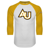 White/Gold Raglan Baseball T Shirt-AU