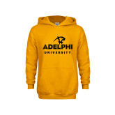 Youth Gold Fleece Hoodie-Panther Head Adelphi University