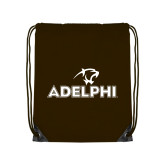 Brown Drawstring Backpack-Adelphi with Panther Head