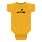 Gold Infant Onesie-Adelphi with Panther Head