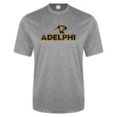 Performance Grey Heather Contender Tee-Adelphi with Panther Head