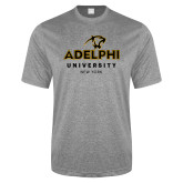 Performance Grey Heather Contender Tee-Panther Head Adelphi University New York