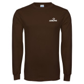 Brown Long Sleeve T Shirt-Adelphi with Panther Head