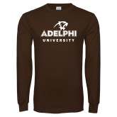 Brown Long Sleeve T Shirt-Panther Head Adelphi University