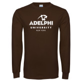 Brown Long Sleeve T Shirt-Panther Head Adelphi University New York