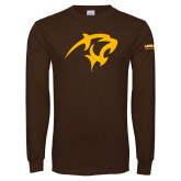 Brown Long Sleeve T Shirt-Panther Head