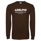 Brown Long Sleeve T Shirt-Adelphi University New York Institutional