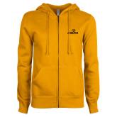 ENZA Ladies Gold Fleece Full Zip Hoodie-Adelphi with Panther Head