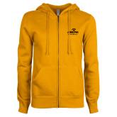 ENZA Ladies Gold Fleece Full Zip Hoodie-Panther Head Adelphi University