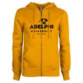 ENZA Ladies Gold Fleece Full Zip Hoodie-Panther Head Adelphi University New York