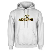 White Fleece Hoodie-Adelphi with Panther Head