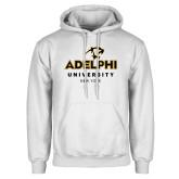 White Fleece Hoodie-Panther Head Adelphi University New York