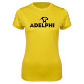 Ladies Syntrel Performance Gold Tee-Adelphi with Panther Head