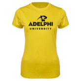 Ladies Syntrel Performance Gold Tee-Panther Head Adelphi University