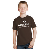 Youth Brown T Shirt-Panther Head Adelphi University
