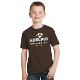 Youth Brown T Shirt-Panther Head Adelphi University New York