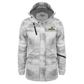 Ladies White Brushstroke Print Insulated Jacket-Adelphi with Panther Head