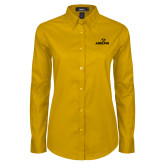 Ladies Gold Twill Button Down Long Sleeve-Adelphi with Panther Head