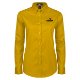 Ladies Gold Twill Button Down Long Sleeve-Panther Head Adelphi University