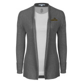 Ladies Heather Grey Open Front Cardigan-Adelphi with Panther Head