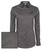 Ladies Grey Tonal Pattern Long Sleeve Shirt-Adelphi with Panther Head