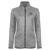 Grey Heather Ladies Fleece Jacket-Adelphi with Panther Head