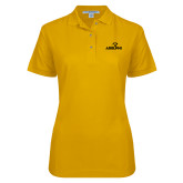 Ladies Easycare Gold Pique Polo-Adelphi with Panther Head