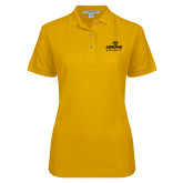 Ladies Easycare Gold Pique Polo-Panther Head Adelphi University