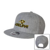 Heather Grey Wool Blend Flat Bill Snapback Hat-Adelphi with Panther Head