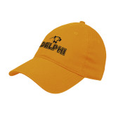Gold Twill Unstructured Low Profile Hat-Adelphi with Panther Head