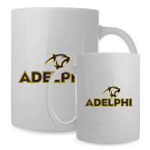 Full Color White Mug 15oz-Adelphi with Panther Head