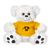 Plush Big Paw 8 1/2 inch White Bear w/Gold Shirt-Panther Head