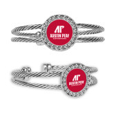 Silver Bangle Bracelet With Round Pendant-AP Austin Peay Governors - Official Athletic Logo