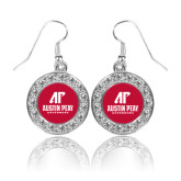 Crystal Studded Round Pendant Silver Dangle Earrings-AP Austin Peay Governors - Official Athletic Logo