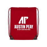 Nylon Red Drawstring Backpack-AP Austin Peay Governors - Official Athletic Logo