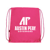 Nylon Pink Drawstring Backpack-AP Austin Peay Governors - Official Athletic Logo