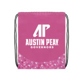 Nylon Pink Bubble Patterned Drawstring Backpack-AP Austin Peay Governors - Official Athletic Logo