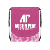 Nylon Zebra Pink/White Patterned Drawstring Backpack-AP Austin Peay Governors - Official Athletic Logo