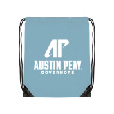 Nylon Light Blue Drawstring Backpack-AP Austin Peay Governors - Official Athletic Logo