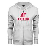 ENZA Ladies White Fleece Full Zip Hoodie-AP Austin Peay Governors - Official Athletic Logo