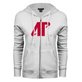 ENZA Ladies White Fleece Full Zip Hoodie-AP