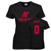 Ladies Black T Shirt-AP Austin Peay Governors - Official Athletic Logo, Custom Tee w/ Name and #