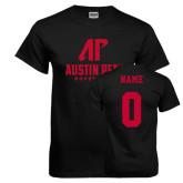 Black T Shirt-AP Austin Peay Governors - Official Athletic Logo, Custom Tee w/ Name and #