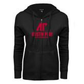 ENZA Ladies Black Fleece Full Zip Hoodie-AP Austin Peay Governors - Official Athletic Logo