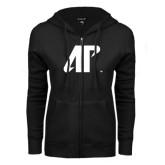 ENZA Ladies Black Fleece Full Zip Hoodie-AP
