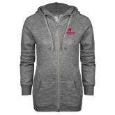 ENZA Ladies Grey/Black Marled Full Zip Hoodie-AP Austin Peay Governors - Official Athletic Logo