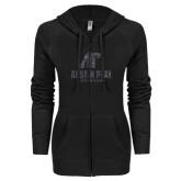 ENZA Ladies Black Light Weight Fleece Full Zip Hoodie-Official Logo Graphite Soft Glitter