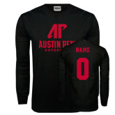 Black Long Sleeve TShirt-AP Austin Peay Governors - Official Athletic Logo, Custom Tee w/ Name and #