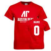 Red T Shirt-AP Austin Peay Governors - Official Athletic Logo, Custom Tee w/ Name and #